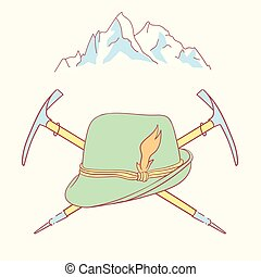 tyrolean hat alpenstock flower symbol alpinism alps germany...