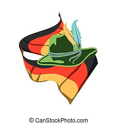 tyrolean hat and germany flag oktoberfest icon vector...