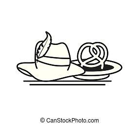 tyrolean hat and pretzel germany oktoberfest icon vector...
