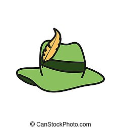 tyrolean hat germany oktoberfest icon vector illustration...