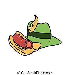 tyrolean hat germany with hot dog oktoberfest vector...