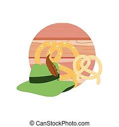 tyrolean hat germany with pretzel oktoberfest vector...