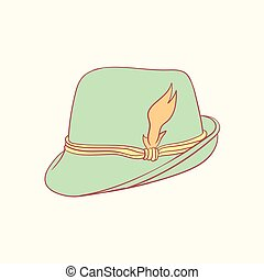 Tyrolean hat hand drawn style vector doodle design...