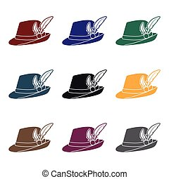 Tyrolean hat icon in black style isolated on white...