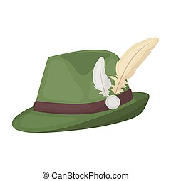 Tyrolean hat icon in cartoon style isolated on white...