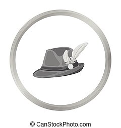 Tyrolean hat icon in monochrome style isolated on white...