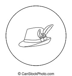 Tyrolean hat icon in outline style isolated on white...