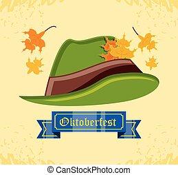 tyrolean hat oktoberfest celebration vector illustration...