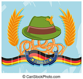 tyrolean hat with pretzels oktoberfest celebration vector...