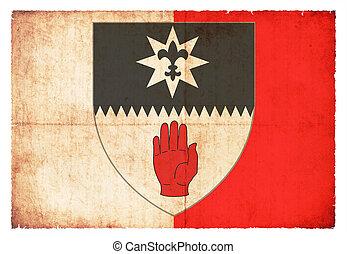tyrone, bandera, (ireland), grunge