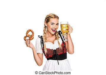 tysk, öl, salt kringla, flicka