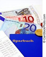 tysk, bank, bog, hos, valuta