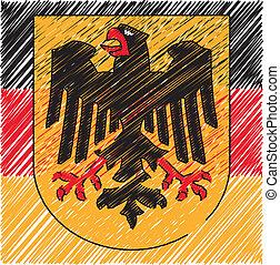 tysk, belægge, arme