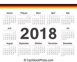 tysk, cirkel, vektor, kalender, 2018
