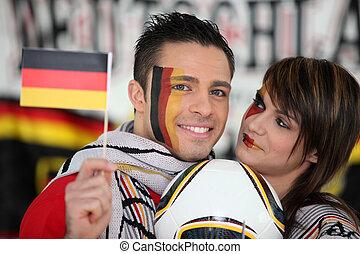 tysk, fodbold, tilhængere