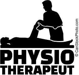 tysk, fysioterapeut, jobb, silhuett, titel