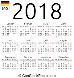 tysk, kalender, 2018, måndag