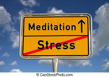 tysk, vägmärke, stressa, och, meditation
