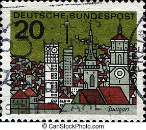 tyskland, -circa, 1964:, en, frimærke, priner, ind, tyskland federal republik, show, stuttgart, er, den, hovedstad, i, den, stat, i, baden-wurttemberg, ind, sydlig, tyskland, circa, 1964