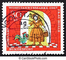 tyskland, -, circa, 1967:, en, frimærke, trykt, ind, den, tyskland, show, pige, under, guld, regn, scene, af, mor, hulda, circa, 1967
