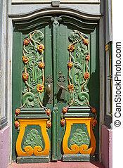 tyskland, grøn dør, nordhausen, farverig