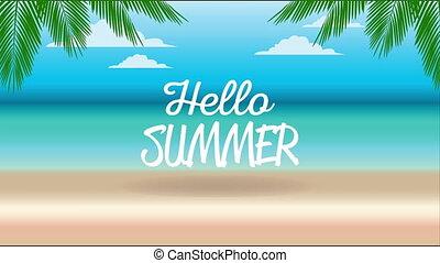 tytuł, święto, lato, plażowa scena, powitanie, afisz