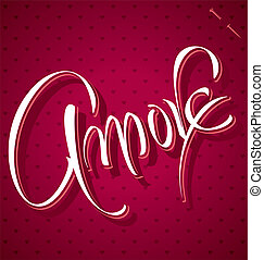tytuł, amore, (vector), ręka