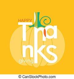 tytuł, dynia, symbol, thanksgiving ozdoba, święto, dzień, szczęśliwy