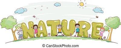 tytuł, dzieciaki, stickman, ilustracja, natura