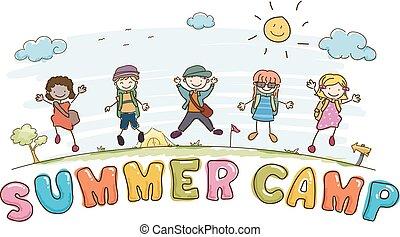 tytuł, dzieciaki, stickman, letni tabor, ilustracja