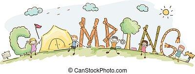 tytuł, dzieciaki, stickman, obozowanie, ilustracja