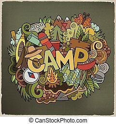 tytuł, elementy, Lato, obóz, Ręka, tło,  doodles