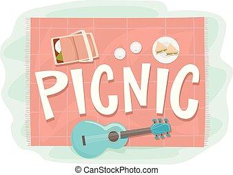 tytuł, elementy, piknik, ilustracja