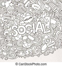 tytuł, elementy, ręka, tło, towarzyski, doodles