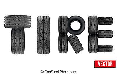 tytuł, ilustracja, ścierka, realistyczny, wektor, tires.