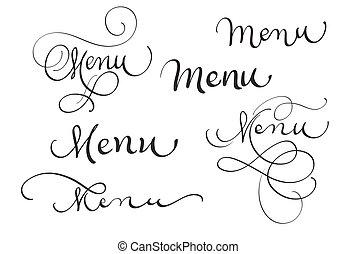 tytuł, komplet, słowo, menu, ilustracja, wektor, white., eps10, kaligrafia