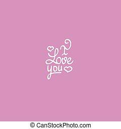 tytuł, miłość, valentine, wektor, projektować, ty