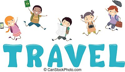 tytuł, podróż, dzieciaki, stickman, ilustracja