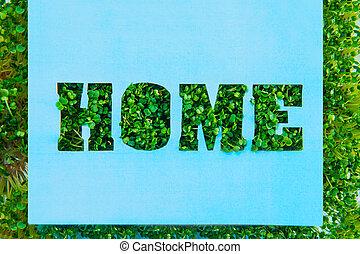 tytuł, pojęcie, papier, ziemia, czysty, dom, błękitny, 22, april.space, twórczy, kiełbiki, dzień, home., frame., nasz, text., handcraft, calligraphy., szkic, planeta, zielony, świeży, trawa