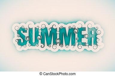 tytuł, słowo, summer., ilustracja