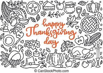 tytuł, sroka, jabłko, dynia, jesień, powitania, cornucopia., doodle, dzień, czarnoskóry, pociągnięty, szczęśliwy, afisz, styl, ilustracja, ręka, indyk, kreska, rysunek, celebrowanie, dziękczynienie, żniwa, obiad, sztuka