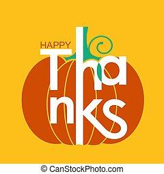 tytuł, szczęśliwy, dziękczynienie, żółty, ozdoba, święto, dzień, karta, dynia