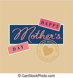 tytuł, szczęśliwy, ręka, dzień, matki
