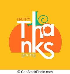 tytuł, szczęśliwy, symbol, thanksgiving ozdoba, święto, dzień, karta, dynia