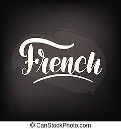 tytuł, tablica, french., chalkboard, handwritten