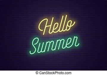 tytuł, tekst, neon, jarzący się, summer., powitanie