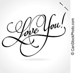 tytuł, ty, miłość, (vector), ręka