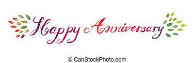tytuł, typografia, rocznica, ilustracja, ręka, akwarela, szczęśliwy