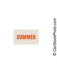 tytuł, wektor, słowo, summer., ilustracja