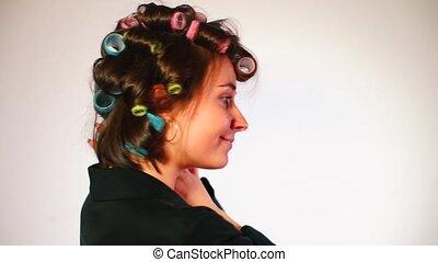 tytułowanie, hair., włos curlers, gospodyni, jej
